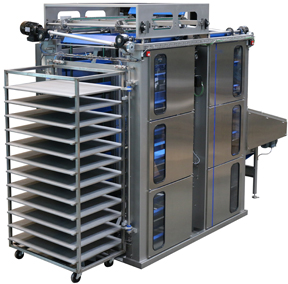 Danmatic Trayhandling System THS750. Automatic Unloading and Loading of trays and straps