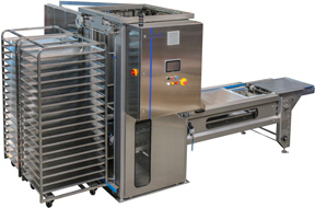 Danmatic Tray Handling System THS-250. Automatic Unloading and Loading of racks.